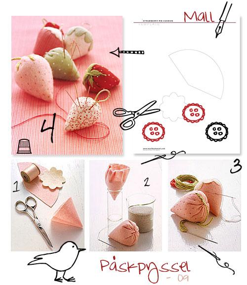 Nålkudde i skepnad av jordgubbe